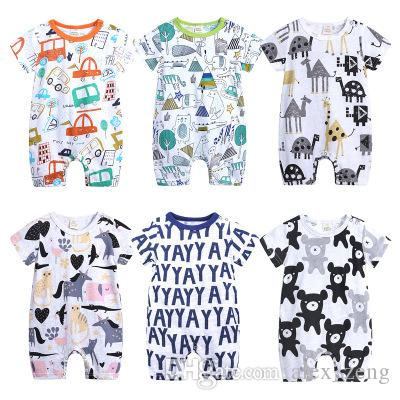 2019 New Summer Baby Print Rompers Button 6 Designs Boys Girls