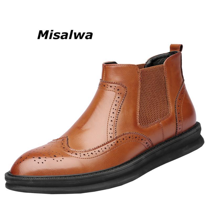 Großhandel 2019 Misalwa Frühling Männer Ankle Boots Brogue Oxford Chelsea  Stiefel Männer Dicke Sohle Fashion Solid Männer Stiefel Slip On Kleid  Schuhe 2018 ... bf59261baf