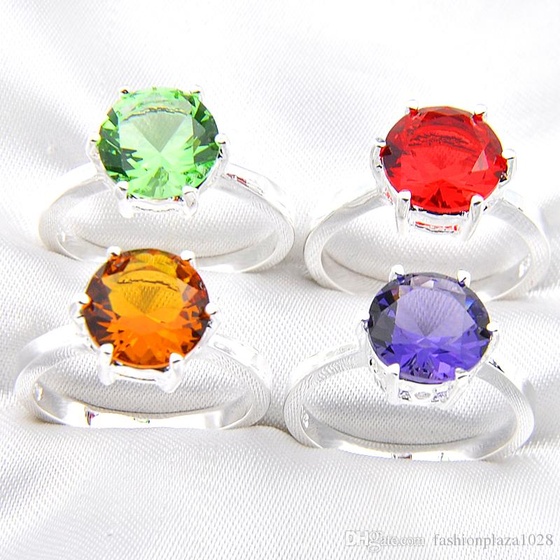 Mix Color 10pcs/lot Wholesale Holiday Jewelry Gift Party Jewelry Round Shaped Topaz Quartz Amethyst Gems 925 Sterling Silver Ring