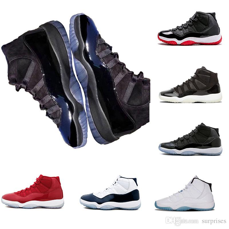 2018 New arrival 11 Prom Night Cap and Gown WIN LIKE 82 96 Midnight Navy Basketball Shoes UNC Gym Red space jam 11s