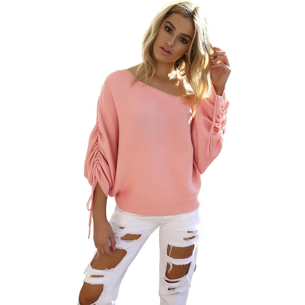 432921c0328 2019 Women Off Shoulder Sweater Knitted Autumn Pullover Jumper Drawstring  Long Batwing Sleeve Pull Femme Casual Loose Knitwear Top From Qinfeng07, ...