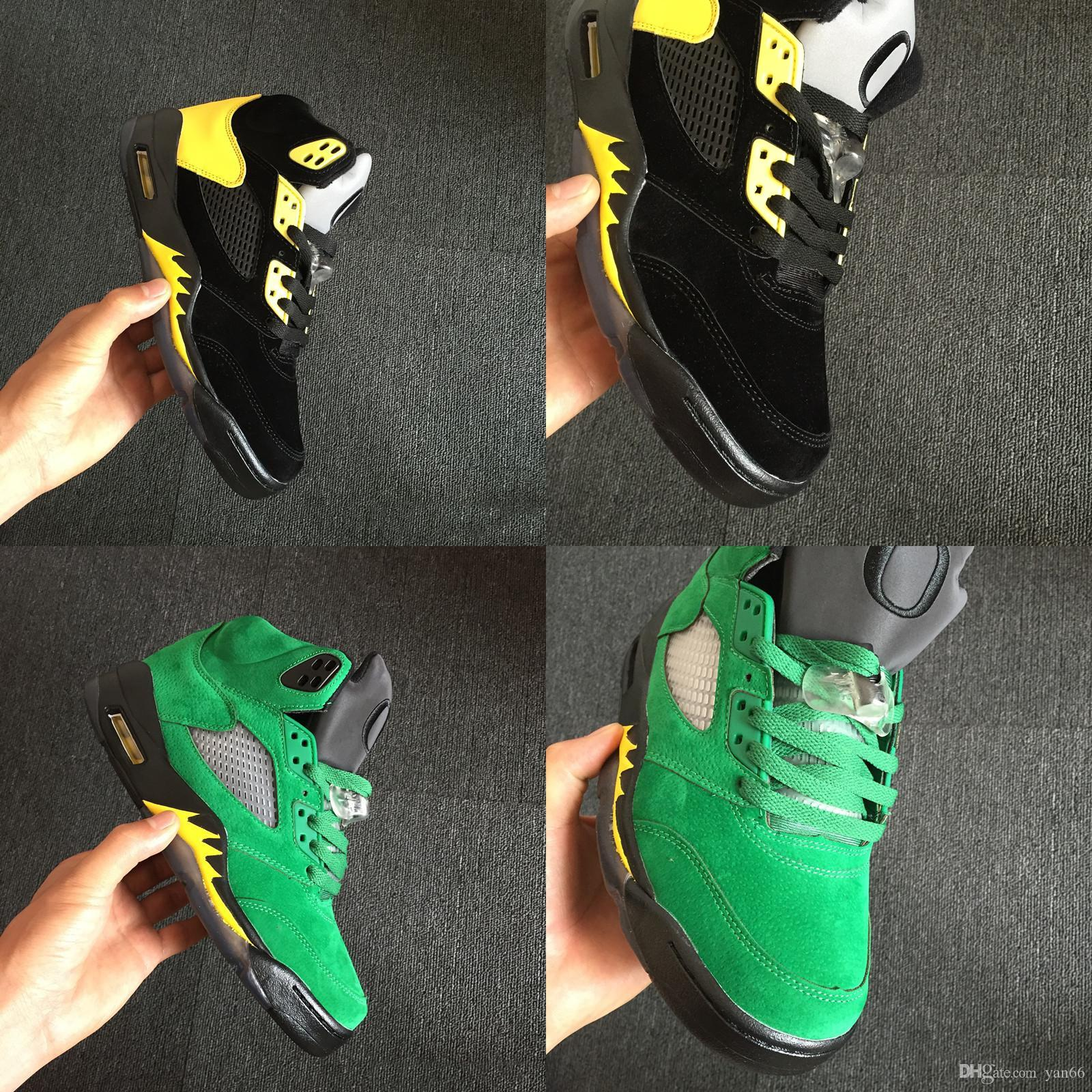 c350d879cee1 New 5 Oregon Green Black Yellow Men Basketball Shoes Sneakers ...