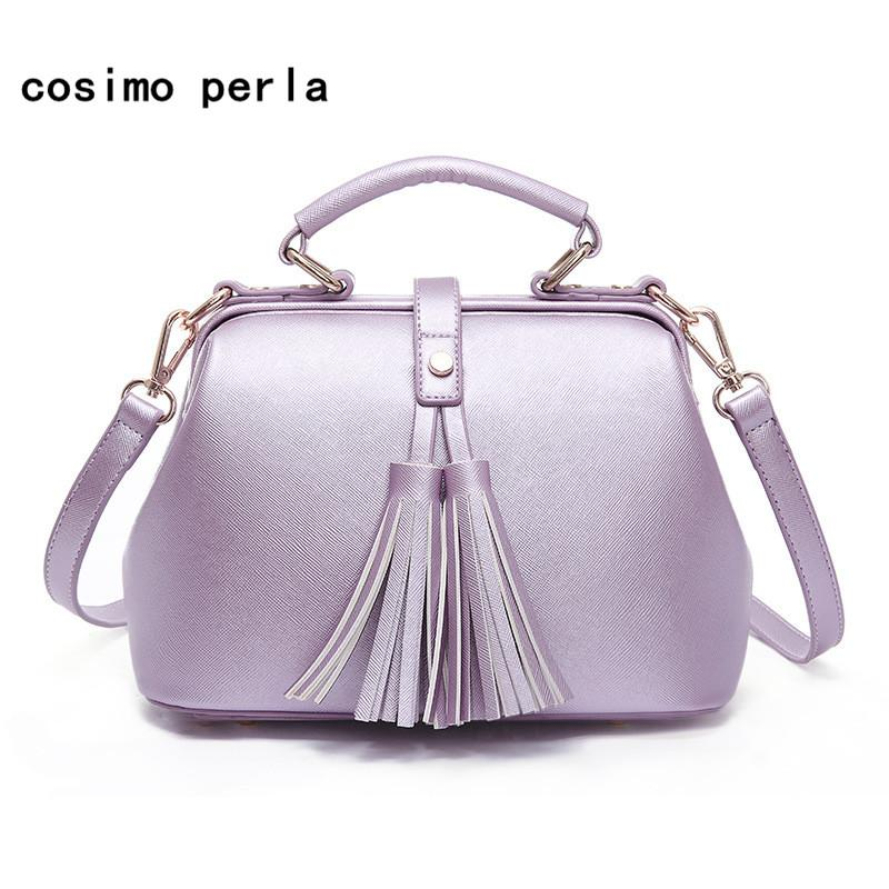 fc8d0527910 Purple Leather Doctor Bag Handbags for Women Lavender Violet Luxury Design  Brand Fashion Tassel Shoulder Bags Crossbody New 2018