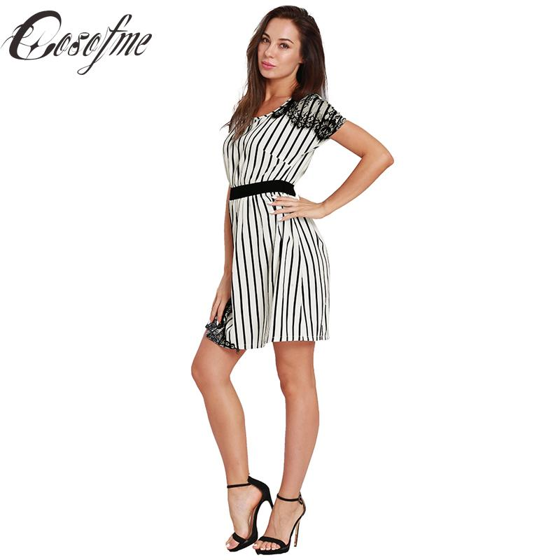 7218f5bcdc7e Cosofme New Woman Summer Dress Black White Striped Lace Short Sleeve O Neck  Dress Female Office Lady A Line Elastic Waist Long Dresses Women Summer  Dress ...