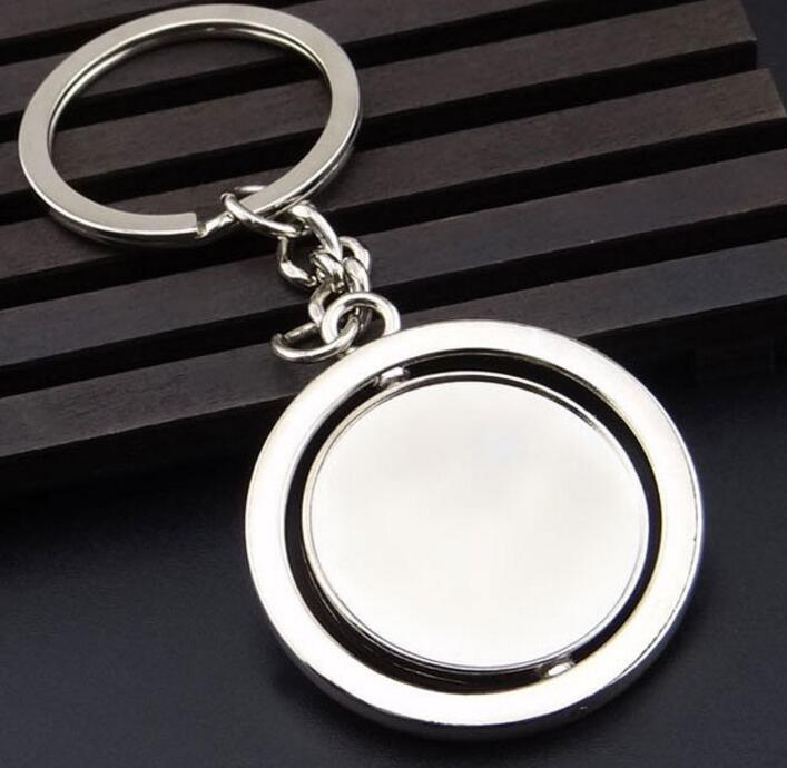 Rotating Blank Keychain Pendant Car Accessories Key Chain 2018 New Metal Silver Key Ring Men Women Jewelry Party Favor DHL