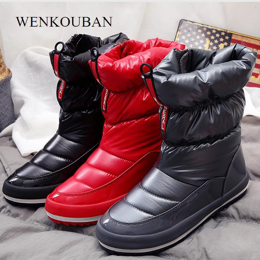 63b5692258 2019 Warm Winter Boots Female Snow Boots for Women Ankle Booties Platform  Waterproof Down Shoes Plush Insole Bota Feminina Black