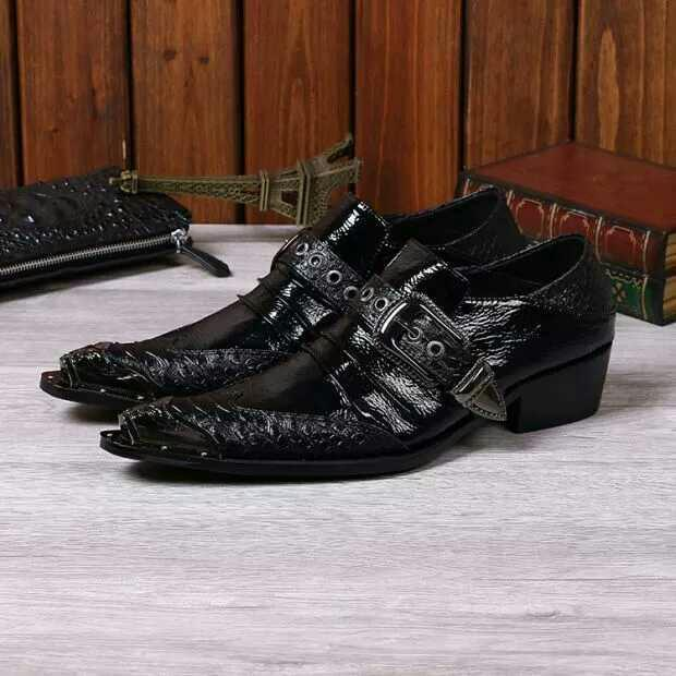 Italian Type Black Buckle Mens Leather Shoes Men Wedding Dress