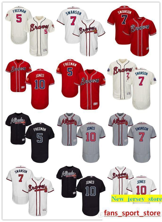 2019 2019 Cheap Men S Braves 5 Freddie Freeman 7 Dansby Swanson 10 Jones Aa  Braves 100% Stitched Baseball Jersey SIZE S XXXL From New jersey store 3bf40c1c587f