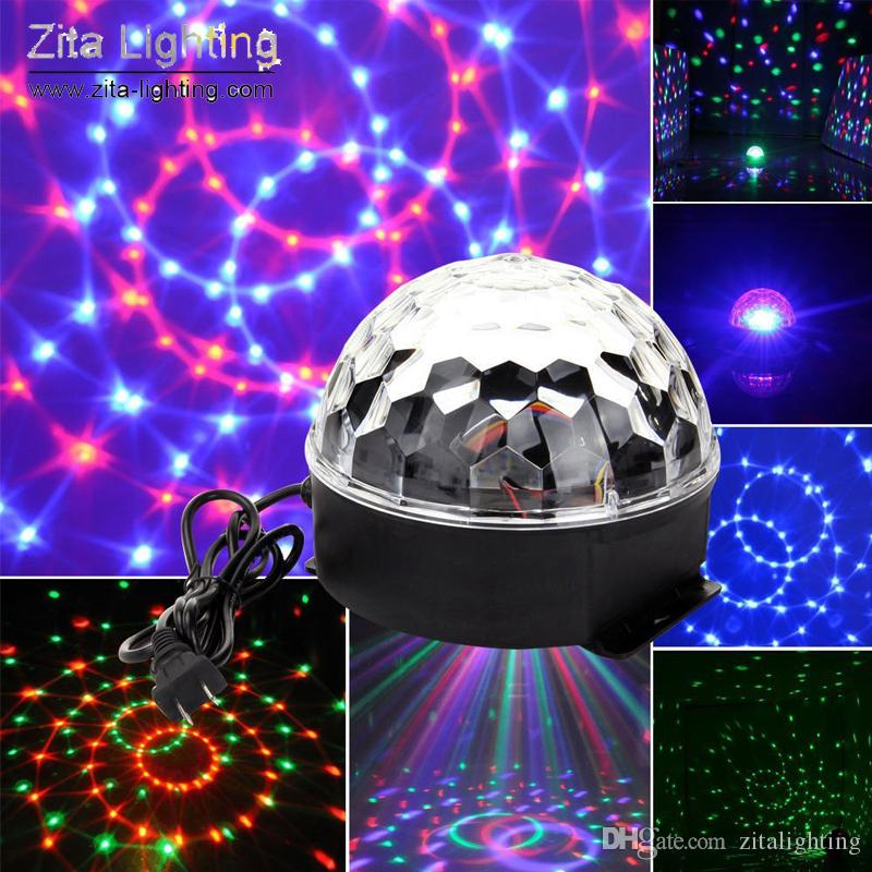 Zita Lighting Rotating Crystal Magic Moving Ball Mini Disco RGBW LED Stage Lighting Sounds Control DMX 512 DJ Dance Party Effect