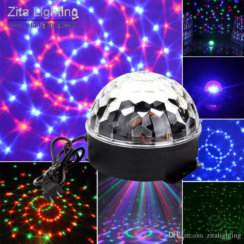 Zita Lighting Mini Crystal Magic Ball Moving Rotating DJ Disco Ball RGB LED Stage Lighting Effect Sounds Control DMX512 Wedding Dance Party