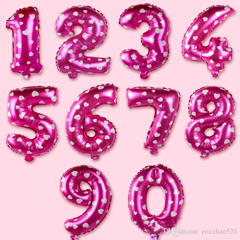 New 30 Inch Helium Air Balloon Number Letter Shaped Pink Heart Printed Ballons Birthday Wedding Decoration Event Party Supplies