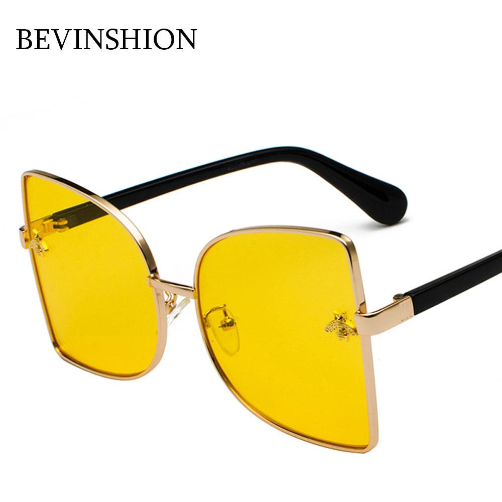 3a30d145df Brand Square Sunglasses Women Honey Bee Embossed Design Trend 2018  Sunglasses Oversized Big Half Frame Yellow Glasses Goggles Oversized  Sunglasses Best ...