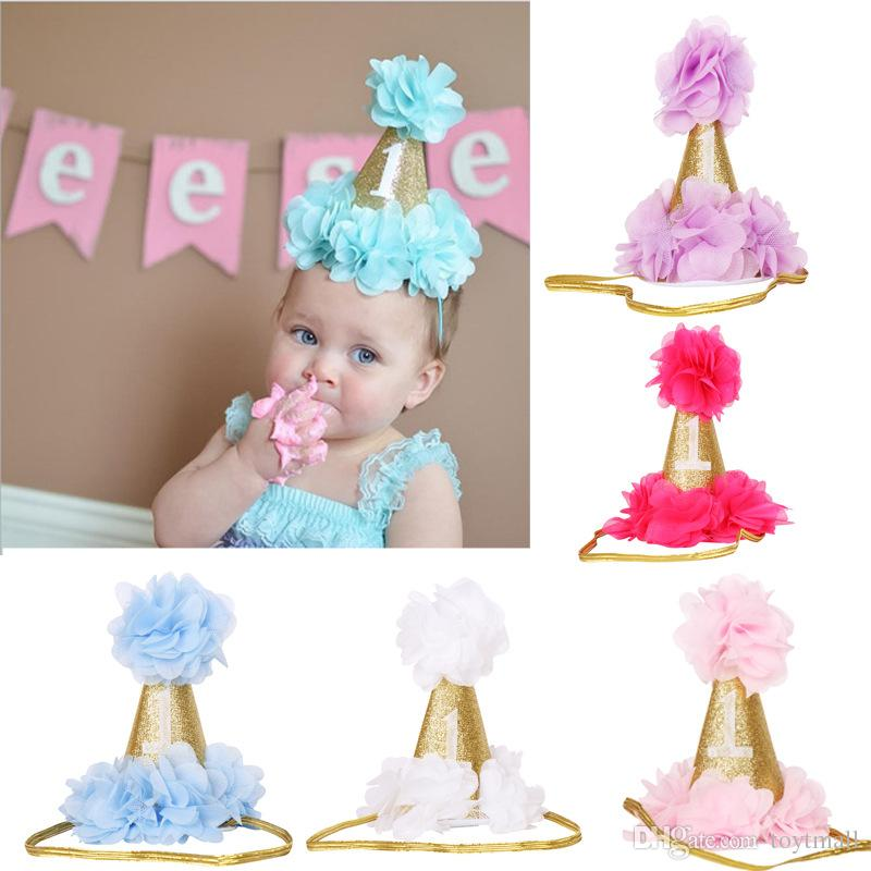Baby Princess Glitter Crown 1st Birthday Hat Newborn Photo Prop Party Girl 2nd Gold Rose Leather Hair Accessories Handmade