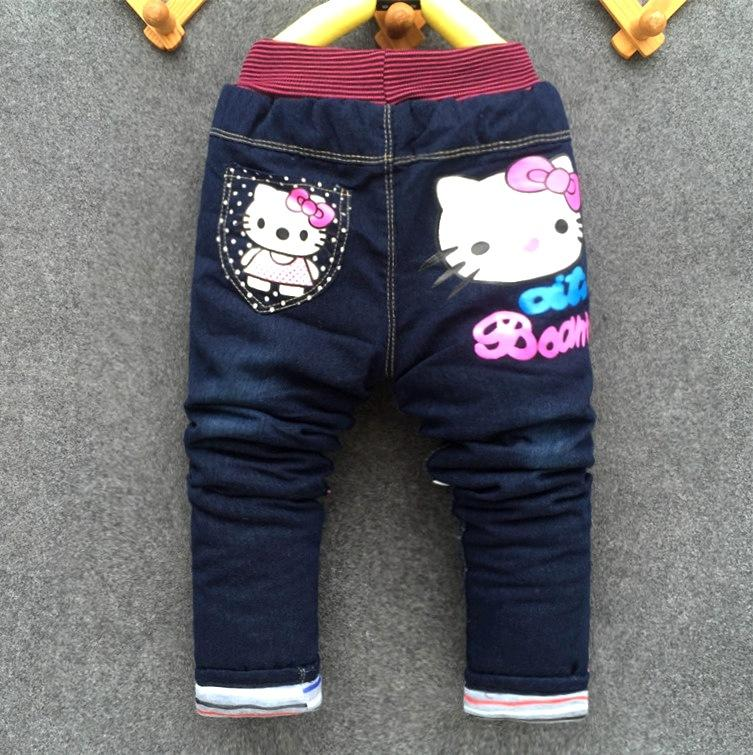Kids Jeans Winter Lovely Cat Children Pants Casual trouses Baby Girls Jeans Cute Cartoon Pattern 1-5years