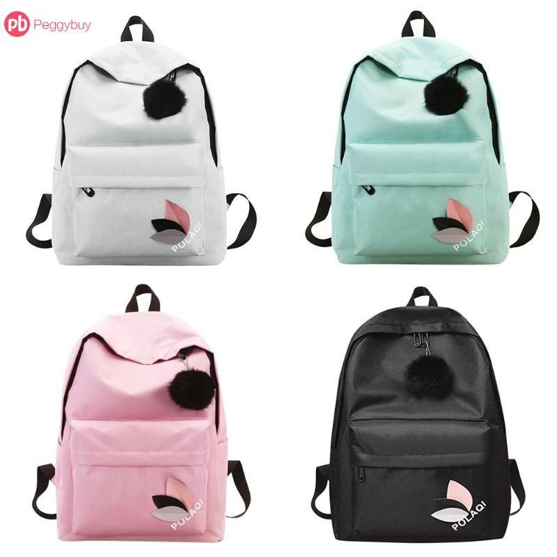 Pom Pom Fur Ball Fashion Simple Women Girls Canvas Preppy Style Backpacks  Teen Travel Shopping Shoulder School Rucksack Jansport Backpacks School  Bags From ... ea28992c77