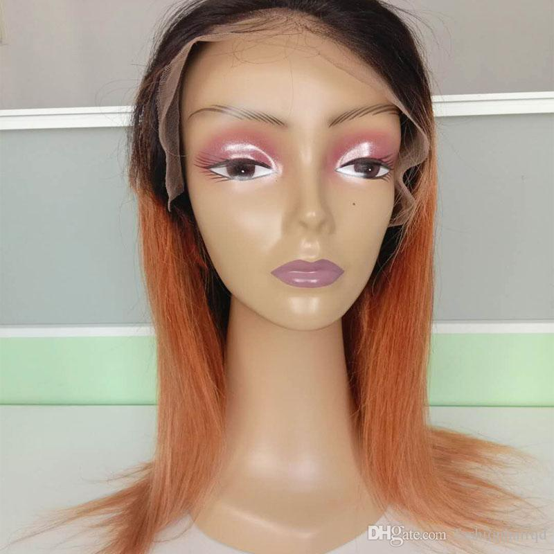 Cheap Two Tone Ombre Full Lace Human Hair Wigs For Black Women T1b Orange Straight Indian Virgin Hair Lace Front Wigs Baby Hair