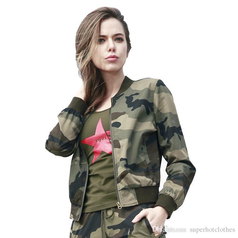 84fb10fe0 Compre Nova Moda Militar Jaqueta Bomber Mulheres Primavera Casual Casacos  Com Decote Em V Collar Jackets Slim Casacos Com Zíper Outerwear Roupas  Femininas ...