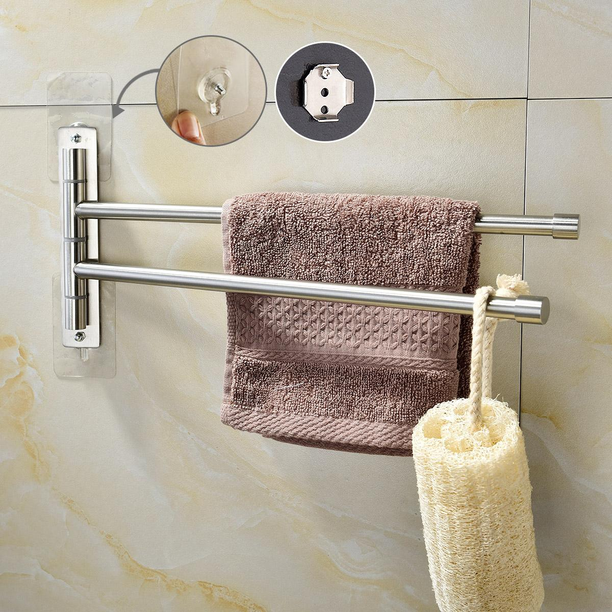Brushed Nickel Stainless Steel Self Adhesive Swivel Towel Bar ...