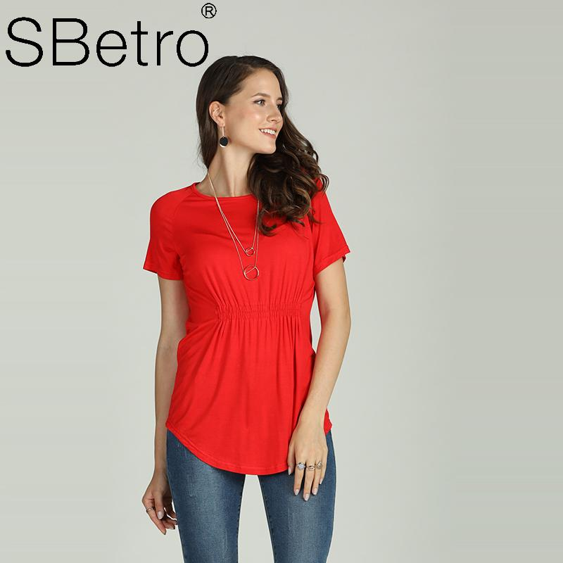 6353bb37d3f Suzanne Betro Red Ruffle Pleated Waist Round Neck Elastic Women Knitted  Tops with Keyhole 2018 Online with  19.43 Piece on Suzannebetrodw s Store