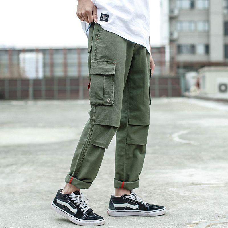 Compre 2018 Moda High Street Hombres Jeans Pantalones Casuales Largos  Ejército Verde Big Pocket Pantalones Cargo Hip Hop Punk Jogger Marca Jeans  Hombres A ... ee249528d85