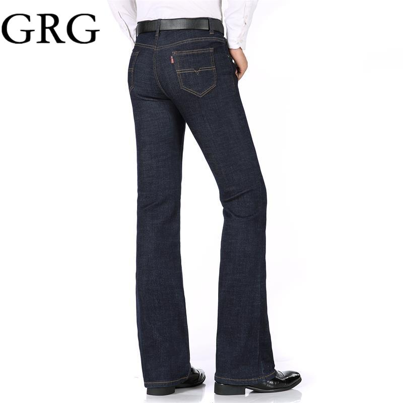 6b823e342aa 2019 2018 High Quality Men Spring Business Casual Jeans Mid Waist Black  Blue Flares Bell Bottom Pants Plus Size 26 34 From Beatricl