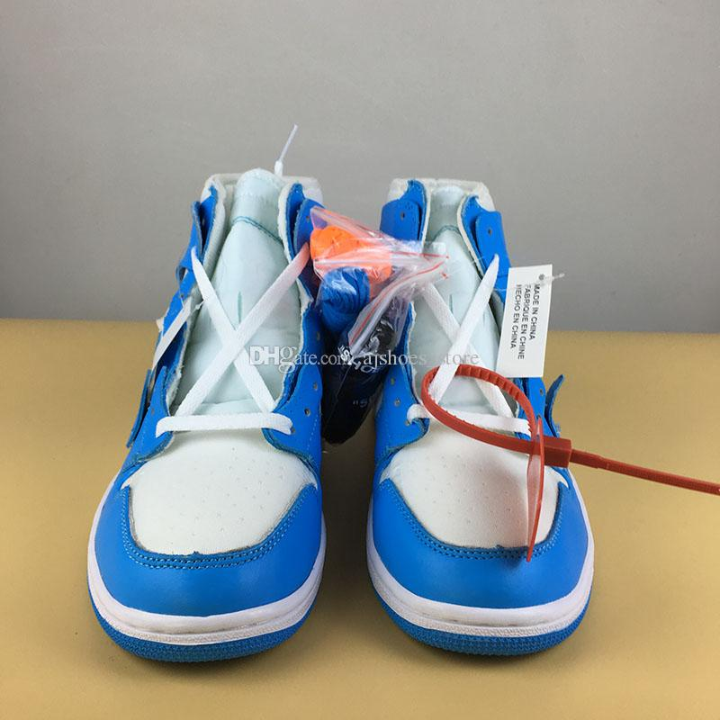 0448275d4211ca Basketball Shoes New 1 Blue White UNC 1s AQ0818 148 Men Sports Shoes  Athletic Drop Shipping With Shoes Box Walking Shoes Shoes Sneakers From  Ajshoes store