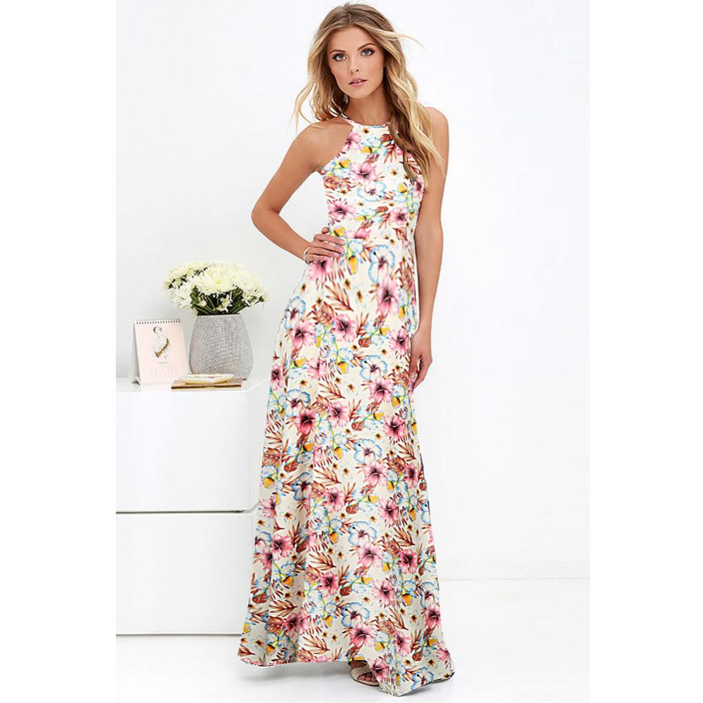 e4b29b8420 5XL Plus Size Maxi Dress Women Sexy Halter Neck Boho Floral Sleeveless  Summer Dress 2018 Beach Holiday Long Dress Vestido Longo D1891702 Floral  Cocktail ...