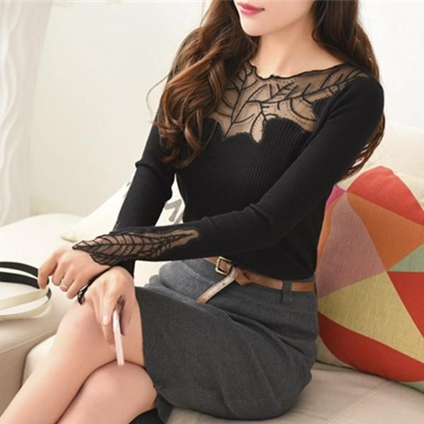 Women Pullovers 2018 Cashmere Sexy Lace Pullover Sweaters Fashion Patchwork Hollow Out Ruffled Collar Knitted Tops Pull Femme