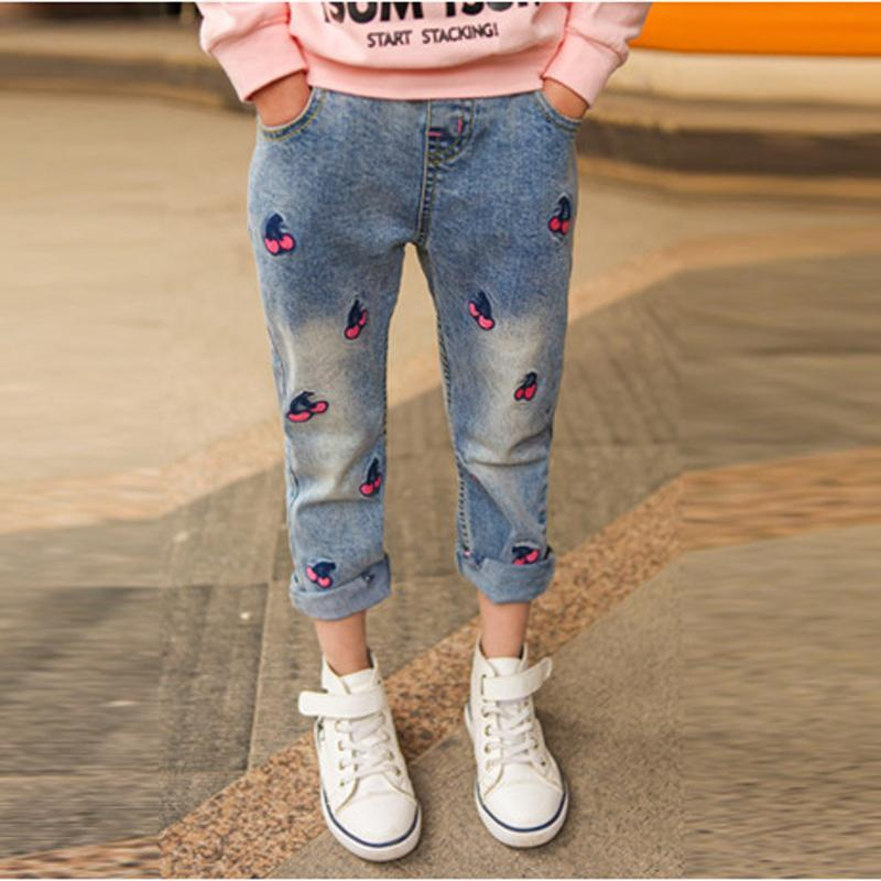 Lovely Girls Jeans Cherry Pattern Casual Kids Jeans for Girls 3 4 5 6 7 8 9 10 11 12 Year Children Pants Toddlers Teens Trousers