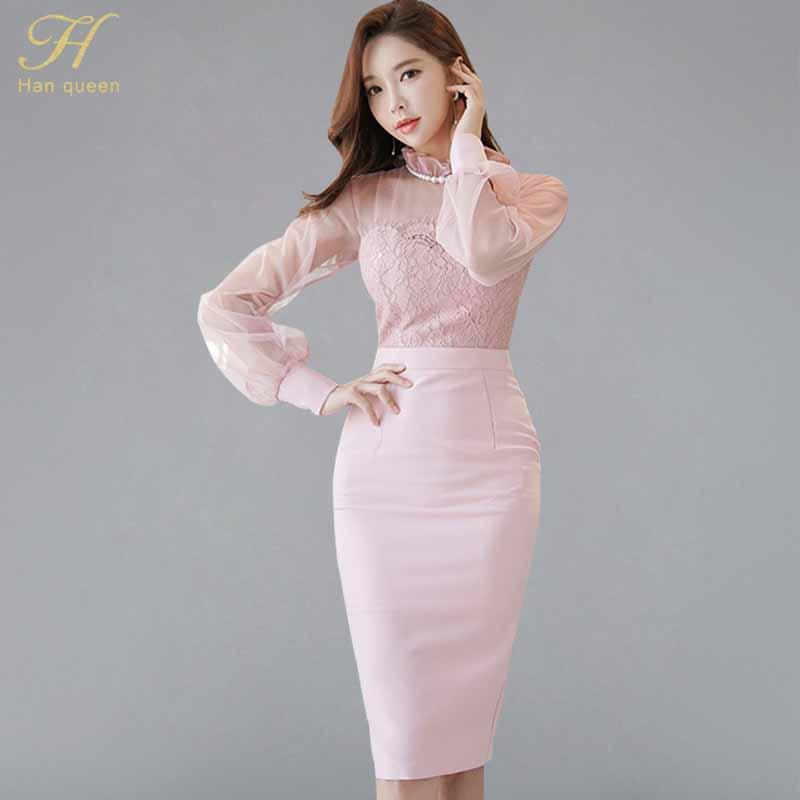 3da1282db2d29 2019 H Han Queen Sexy Lace Pink Lantern Sleeve Sheath Dress Women 2018  Autumn Patchwork Pencil Dresses Elegant OL Bodycon Vestidos From Feixianke,  ...