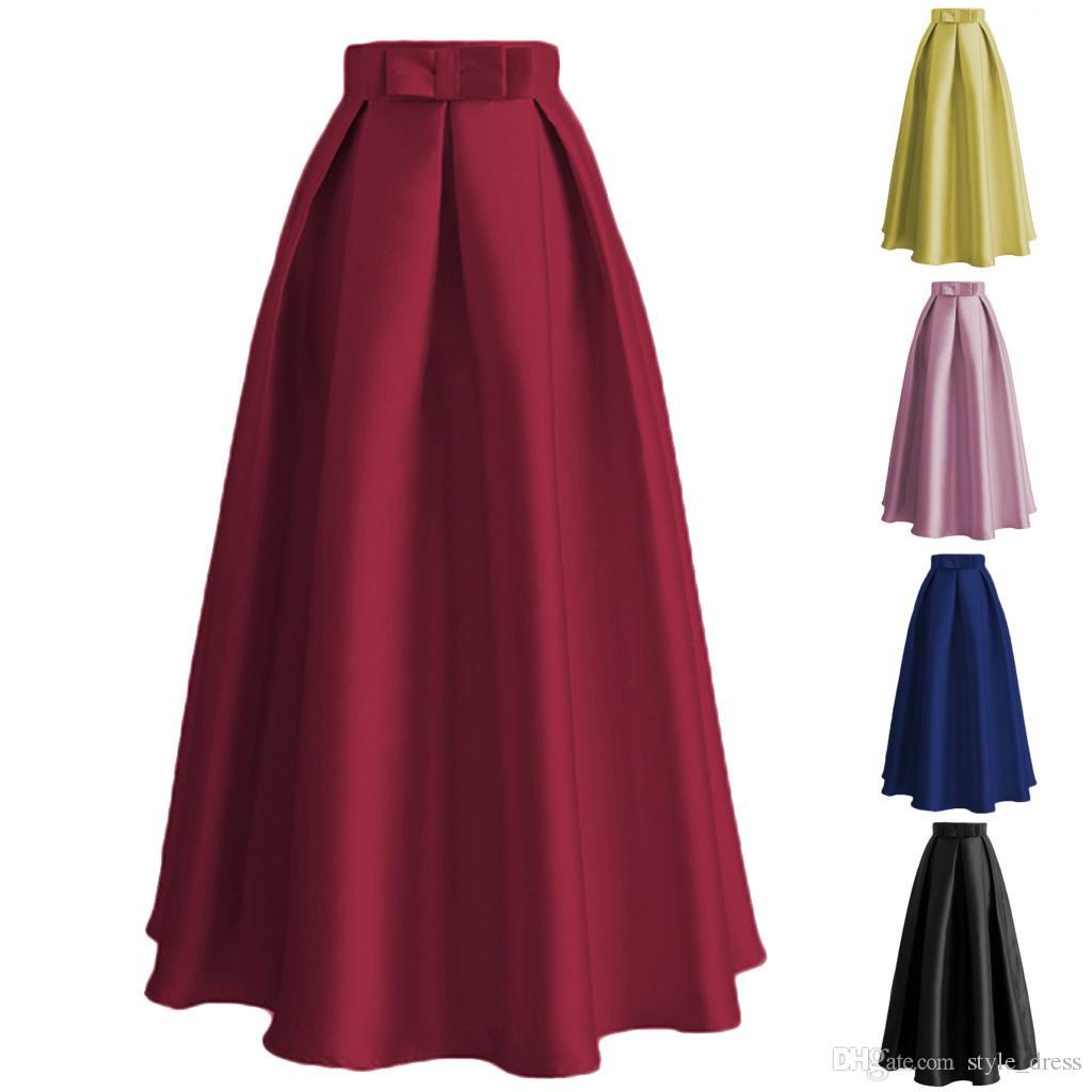 f3a1f2b7a2 2019 Plain Muslim Women Casual Maxi Pleated Skirts High Waist Ladies A Line  Long Skater Skirt From Style_dress, $20.11 | DHgate.Com