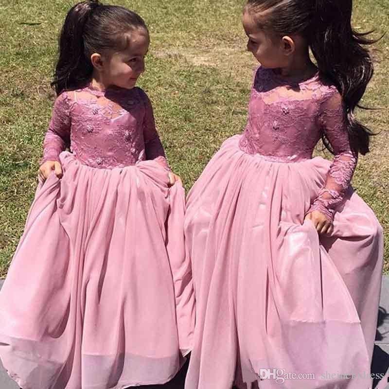 2018 Nuovo gioiello collo appliques a-line fiore ragazza abiti prima comunione abito manica lunga nuove ragazze abiti da spettacolo le nozze
