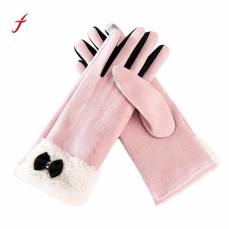 2017 Winter Thicken Warm Gloves fashion Leather Gloves Ladies Handschoen High Quality For Women#W