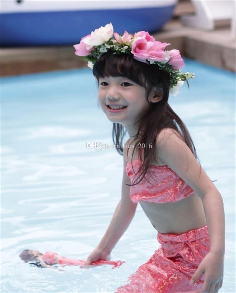 الأطفال حورية البحر ملابس السباحة المايوه 5 لون الفتيات الصيف ثلاث قطع ملابس السباحة بيكيني ملابس شحن مجاني B0140