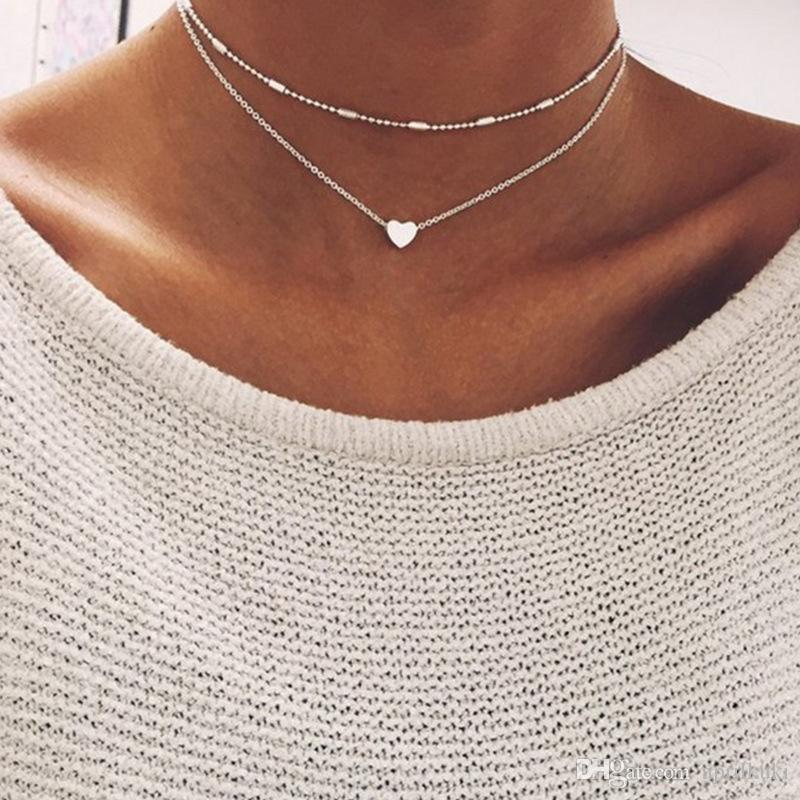 2018 New Arrival Multilayer Simplicity Women Cooper Silver Gold Chain Heart Pendant Choker Necklace Clavicle Necklaces Valentine's Day Gifts