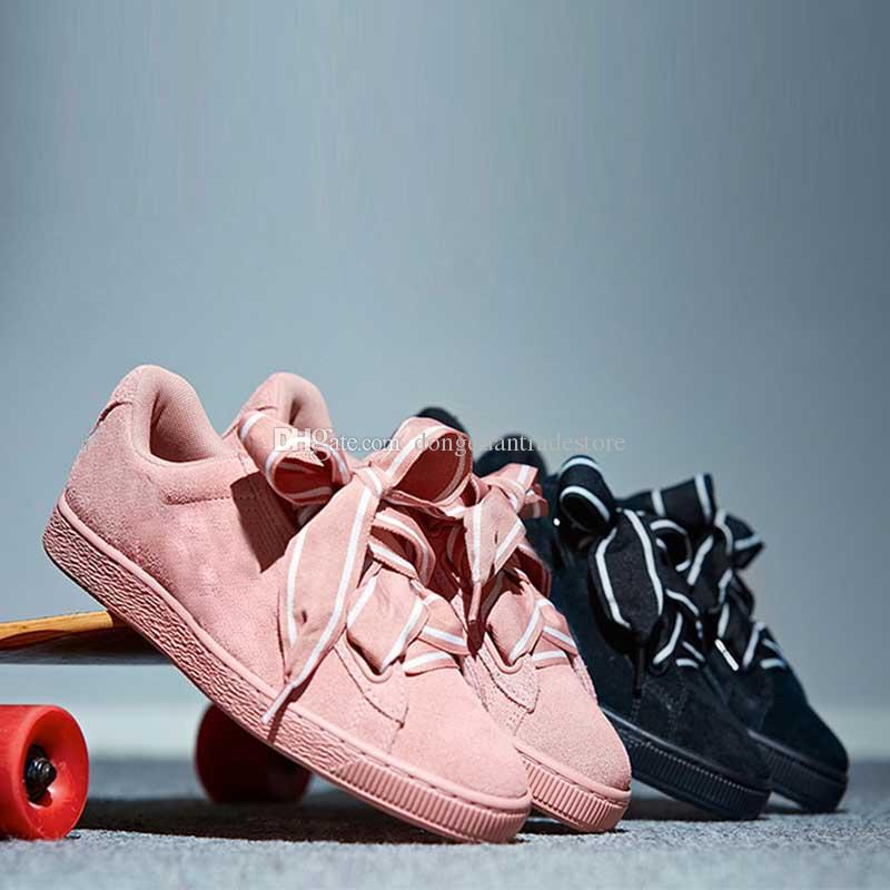 buy online 44990 5bc58 [With Box]New Fenty Rihanna Suede Heart Satin II Fashion Casual Shoes Women  Low Top Shoes Girls Flat Shoes Sneakers