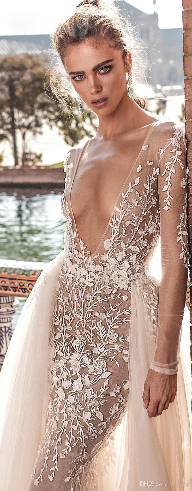 Pizzo applique treno staccabile abiti con Berta sposa Mermaid profondo scollo a V Beach Wedding Gowns sweep treno lungo nuziale sexy manica