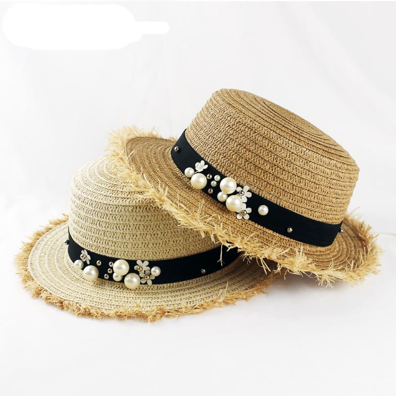 3e1866e63 Sale Flat top straw hat Summer Spring women s trip caps leisure pearl beach  sun hats breathable fashion flower