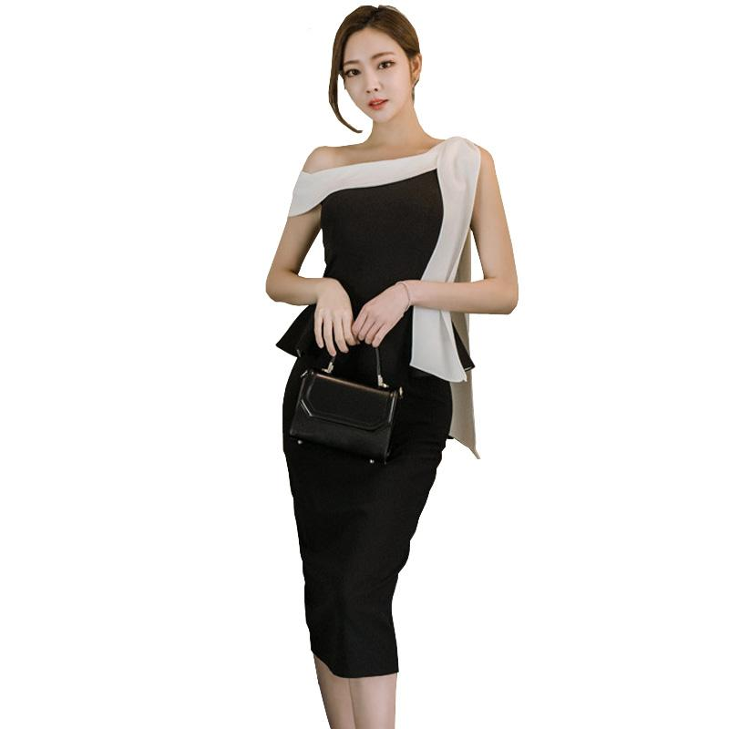 2019 Korean Style Women Peplum Dress Slash Neck Bow Knot Bodycon