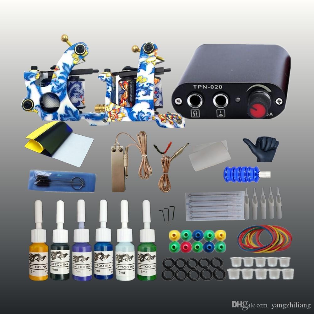 Grosshandel Komplette Tattoo Kit 2 Spulen Guns Maschine Set 6 Farben