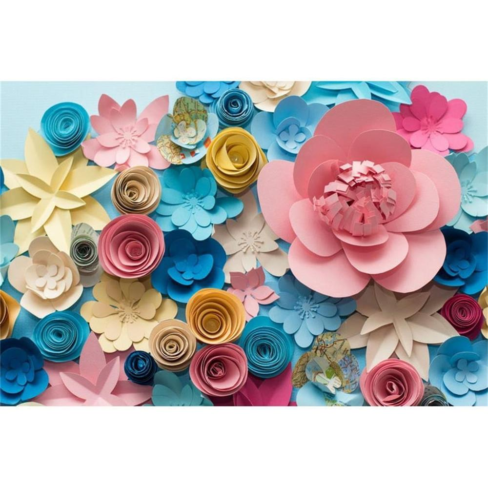 2018 Digital Printing Colorful 3d Paper Flowers Vinyl Backdrop For