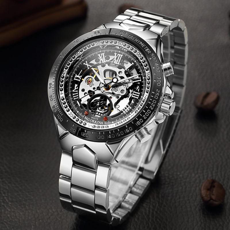 9be830cd9f7c Compre Moda Clásico Reloj Hombres Relojes Esqueleto De Lujo De Acero  Inoxidable Relojes Mecánicos Automáticos Relogio Masculino Reloj Hombre A   33.85 Del ...