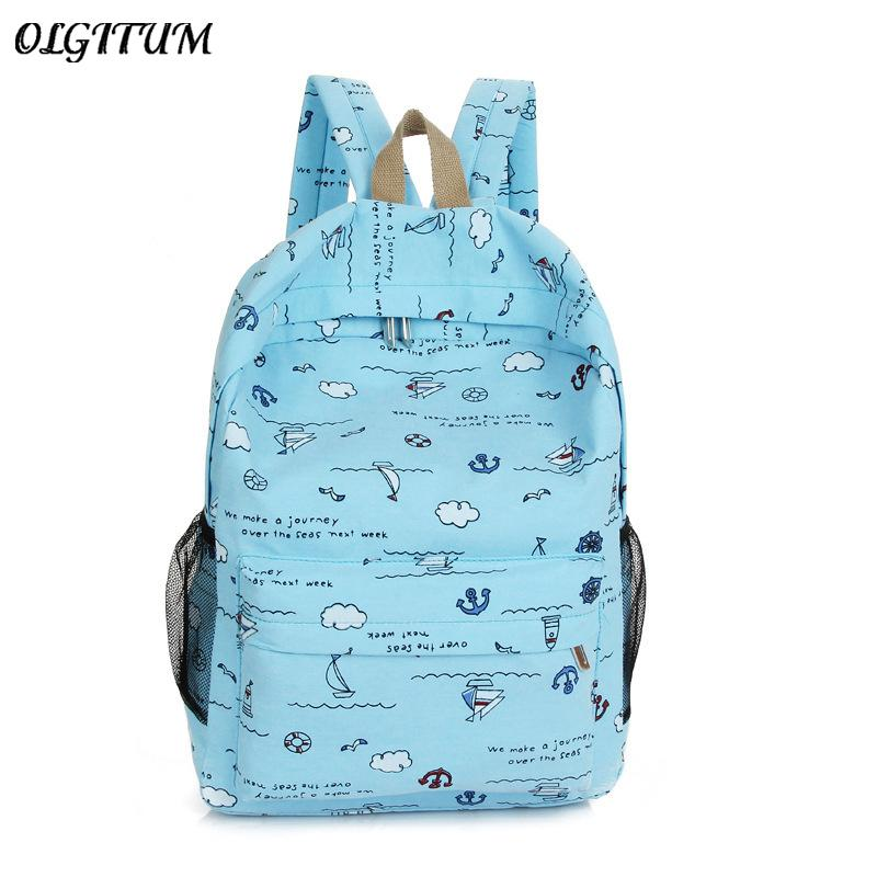 0db18b2a6731 Hot Sale 2018 Fashion Simple Korean Backpack For Teen Girl Cute Cloud Print  Student Canvas School Bag Women Travel Backpack Toddler Backpacks Mens  Backpacks ...