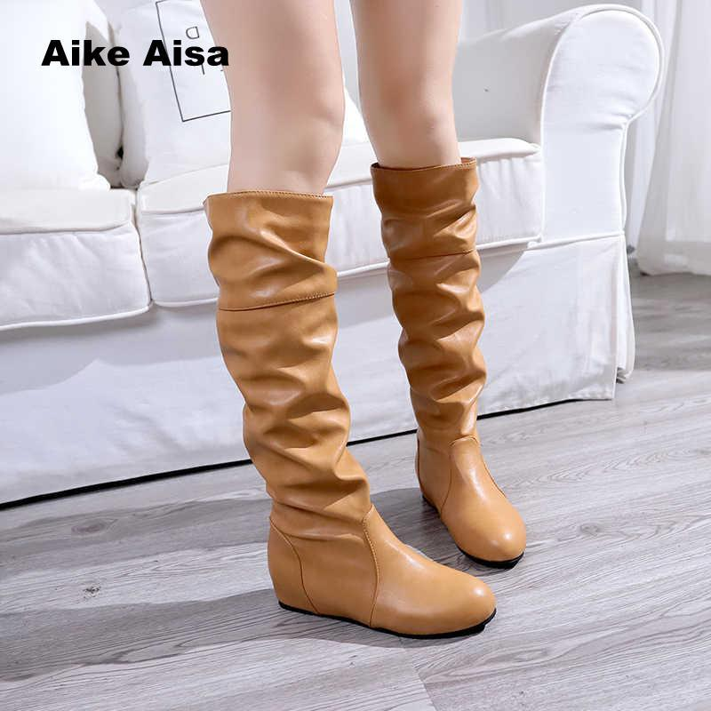 4c12299cc Plus Size 35 43 Thigh High Boots Female Winter Boots Women Over The Knee  Low Heel Sexy Fashion Shoes Botas Mujer Winter Boots For Women Motorcycle  Boots ...