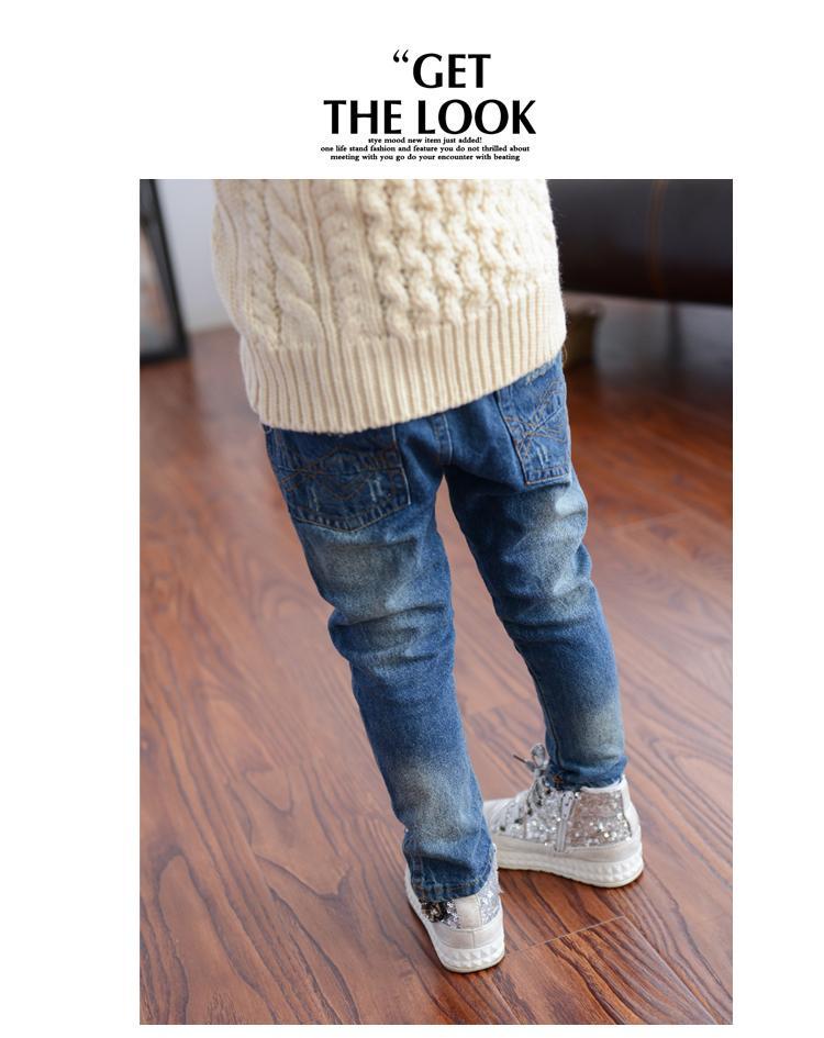 MRJMSL Enfants printemps automne vêtements enfant pantalon Enfants Jeans Pantalon pour Filles Jeans vieux déchiré