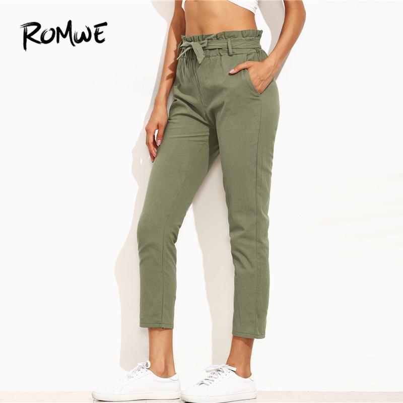 Compre 20188 ROMWE Cinturón Con Nudo Corbata Cintura Ejército Pantalones  Verdes Femenino 2018 Verano Pierna Recta Cintura Media Cintura Cintura  Elástica ... 939d2a28e95