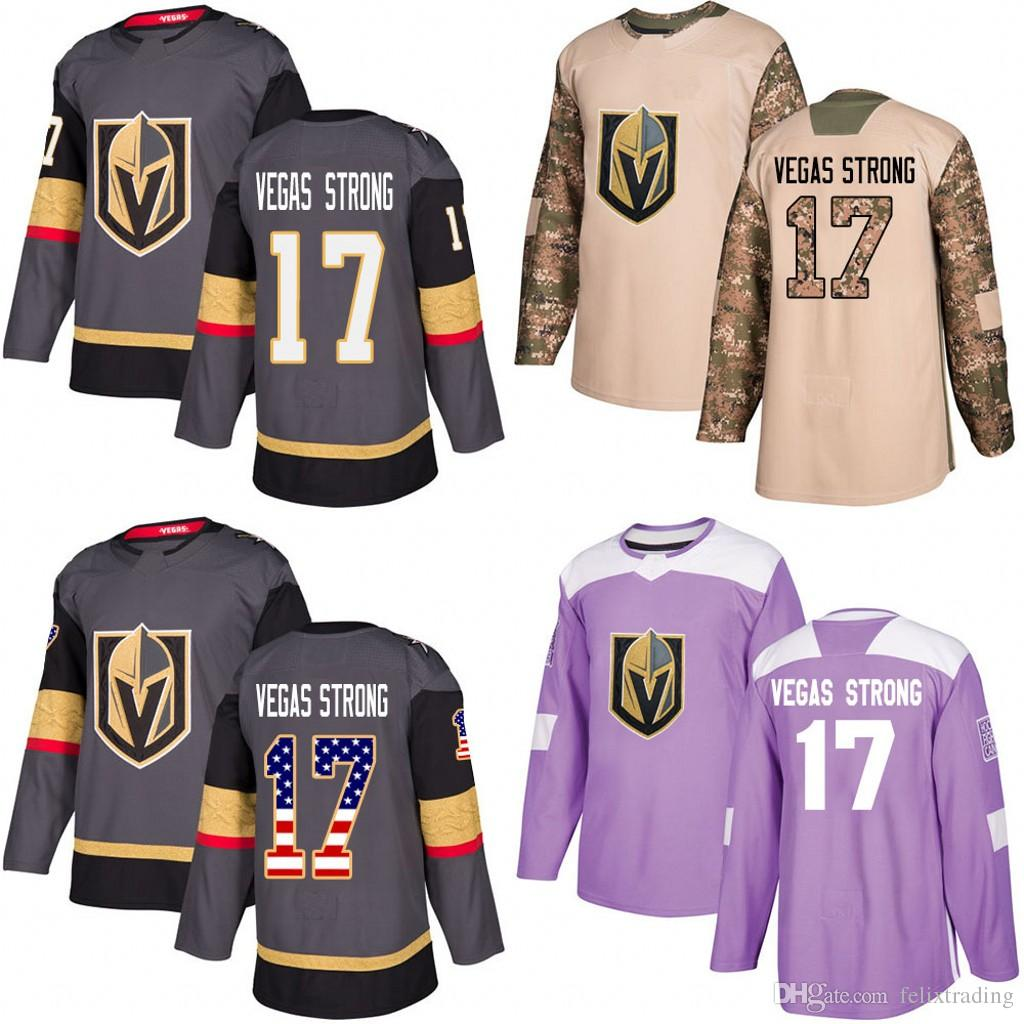 quality design ee27e 615cb Golden Knights #17 Vegas Strong 2018 Hockey Fights Cancer Jerseys 2017  Veterans Day Men Women Youth Custom Stitched Jersey