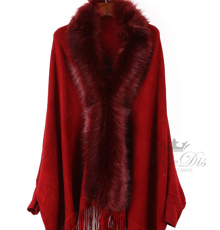 [FEILEDIS] Luxury Brand Women Winter Wool Scarf Cloak Fur Collar Floral Print Tassel Shawls Poncho Cloak shawl scarf DP2643