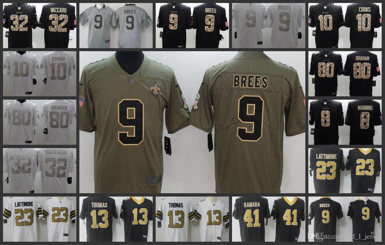 2018 New Orleans Saints Embroidery Man Jersey  9 Drew Brees 13 Michael  Thomas 23 Marshon Lattimore 41 Alvin Kamara Women Youth Football Jerseys  From ... 1430d7b26