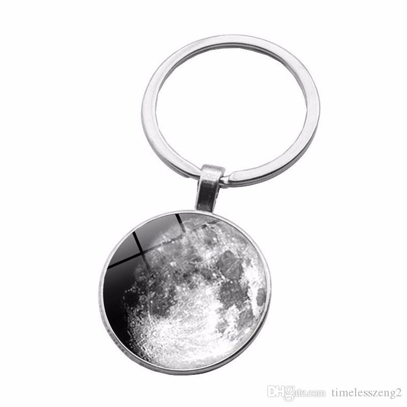 Étoile modèle Time Gem Cabochon porte-clés série de couleurs noir et blanc conception de la planète porte-clés individuels petits cadeaux
